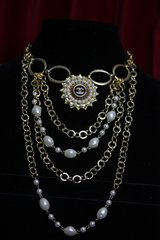 1601 Repurposed Authentic Chanel Button Chain Pearl Necklace