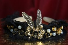2120 Baroque Black Lace Fancy Headband
