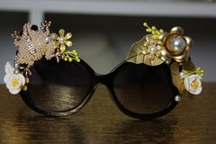 475  UV 400 Zibellini Pearl Frog Lake Lily Embellished Spring Unusual Sunglasses