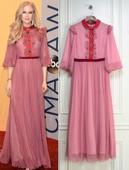2092 Designer Insppired Chiffon Pink Mid Cuff Dress