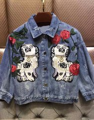 1814 Designer Gog Applique Floral Embroidery Jeans Jacket