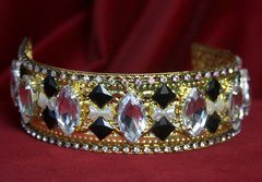 1694 Baroque Art Deco Clear Crystal Black Headband