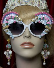 2031 Marie Antoinette Fan Mask Hand Painted Embellished Sunglasses