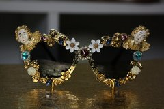 672  Spring 2016 Gold Filigree Top Heavy Cherub Sunglasses UV400