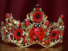 2121 Set Of Baroque Ladybug Red Crystal Tiara Crown+ Earrings
