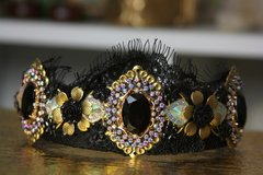 1396 Baroque Black Crystal Gold Flower Lace Headband