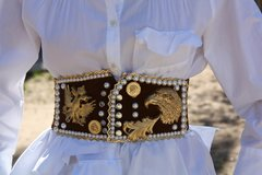 SOLD OUT! Medieval Eagle Pearl Brown Unusual Corset Waist Belt