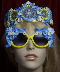 SOLD! 2085 Baroque Designer Inspired Yellow Blue Crurves Sunglasses