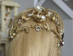 1542 Baroque Huge Pearl Flower Headband Tiara