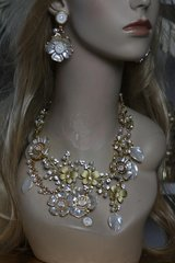SOLD!1519  SET Coco Enamel Crystal Garden Lace Statement Necklace + Earrings