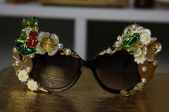 793  Miami Enamel Frogs Crystal Frog Flower Embellished Sunglasses UV400