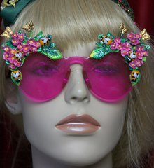 2034 Pink Clear Bee Hand Painted Flower Sunglasses