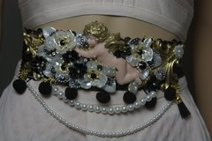 1790 Baroque Cherub Angel Pearl Flower Crystal Waist Belt