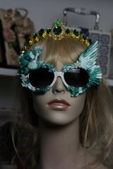 492  Malachite Effect UV 400 Zibellini Cherub Winged Unusual Unique Sunglasses