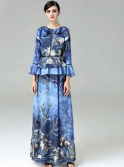 2066 Designer Inspired Sea Print Fancy Maxi dress