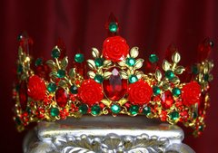 2133 Baroque Red Rose Leaf Green Crystal Tiara Crown