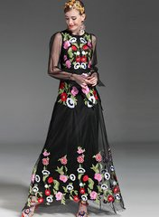 2087 Runway US2-US4 Embroidery Poppy Sheer Black Gown Maxi Dress