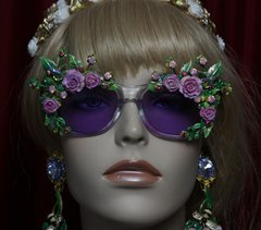 1960 Purple Clear Hand Painted Enamel Garden Embellished Sunglasses