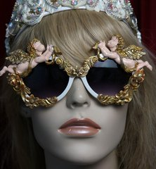 1874 Total Baroque Faced Cherubs Vintage Style White Sunglasses