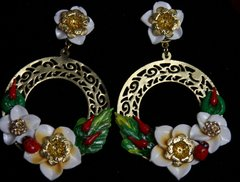 SOLD!1934 Baroque Designer Inspired Ladybug Chilly Round Earrings