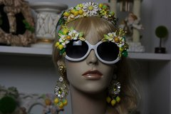 897  Lemon Embellished Fancy Sunglasses