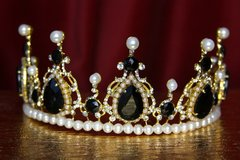 2124 Set Of Pearl Black Crystal Tiara Crown+ Earrings
