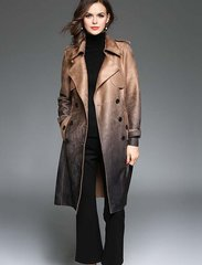 1636 Plus Sizes 2 Colors British Style Faux Seude Graded Color Trench Coat