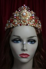 2025 Baroque Red Flower Gold Leaf Full  Crown