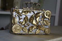63 Roman coin Baroque Baroque Embellished Mother Of Pearls Lilly Knuckle Purse Handbag