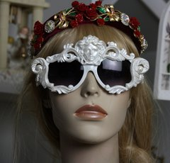 842  Zibellini White Pearl Architec Medusa Shades Unusual Unique Fancy Sunglasses