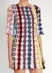 2149 Designer Crochet Colorful Flowers Mini Dress