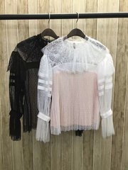 1838 2 Colors Stunning French Lace Victorian Blouse Top US2-US6