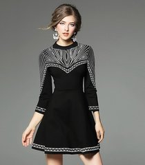 2051 US2-US4 Designer Inspired Elegant Embroidery Mini Black Dress
