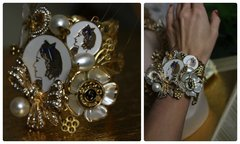 839  SET Madam Coco Enamel Brooches Embellished Unusual Fancy Coco Pearl Bracelet