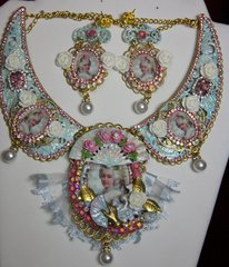 SOLD! 2013 Set Of Marie Antoinette Hand Painted Pale Blue Ponk Fan Necklace+ Earrings