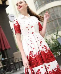 2145 Designer Rose Red Petal Print Elegant Mid Cuff Dress