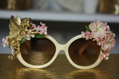 568 Gold Fairy Pale Pink Flower Embellished UV 400 Zibellini Unusual Unique Sunglasses
