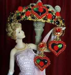 2132 Set Of Black Heart Baroque Red Rose Crown Tiara+ Earrings