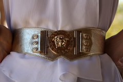 898  MEDUSA Runway Baroque Designer Inspired Gold Silver Tone Fancy Waist Belt
