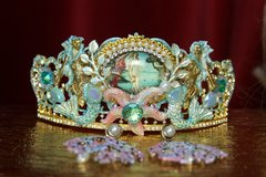 2136 Set Of Earrings+  Birth Of Venus Star Mermaids Hand Painted Tiara Crown