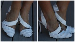 1327 Snow White Leather Fringe Heel Shoes Size Us10