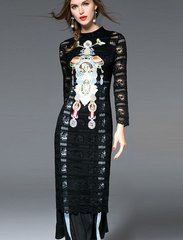 2107 US2-US6 Designer Inspired Runway Appliqe Embroidery Black Lace Dress