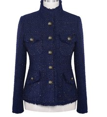 1706 Madam Coco Navy Blue Button Elegant Blazer