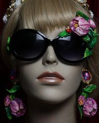 SOLD!1965 Hand Painted Tulip Irregular Sunglasses Shades