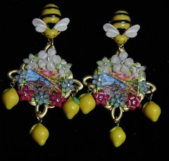 SOLD!1929 Taormina Italian Tile Print Flower Bee Lemon Earrings