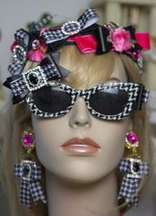 1561 Houndstooth Designer Inspired Crystal Bow Sunglasses