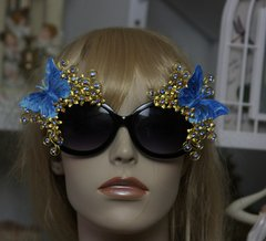 991  Total Baroque Miami Gold Filigree Blue Butterfly Crystal Flower Embellished Sunglasses UV400