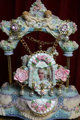 SOLD! 2014 Set Of Hand Painted Massive Marie Antoinette Rose Fan Necklace+ Earrings