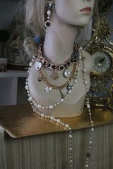 565 SOLD! SET Byzantine Coco Chain Pearl Runway Camellia Fashion Statement Necklace