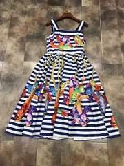 2093 Designer Striped Fish Print Fancy Mini Dress US2-US4